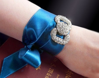 VALENTINES DAY SALE 2-in-1 Antique Art Deco Bracelet or Choker with Sapphire Blue Vintage Ribbon