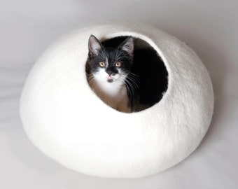 White Bubble - Hand Felted Wool Cat Bed / Vessel - Crisp Contemporary Design