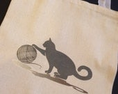 Knitting Bag/Tote Bag, Black Cat