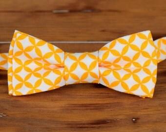 Boys Orange Bow Tie - orange white circular print cotton bowtie, baby bow tie, boys bow tie, toddler bow tie, ring bearer bow tie, wedding