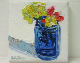 Chrysanthemum Sprig Bouquet original acrylic still life painting by Polly Jones