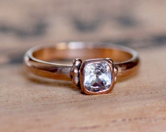 Unique rose gold engagement ring, white topaz ring, 14k rose gold ring, rose gold promise ring, pink gold ring, Temple, ready to ship size 6