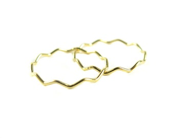 Gold Plated Wavy Wire Ring (2x) (K762)