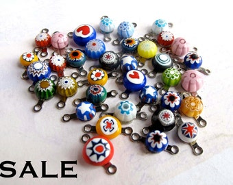 Random Assortment Of Vintage Double Bail Italian Millefiore Glass Charms (36X) (P529) SALE - 60% off