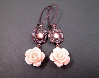 Flower Earrings, Peach Blossoms, Copper Dangle Earrings, FREE Shipping U.S.