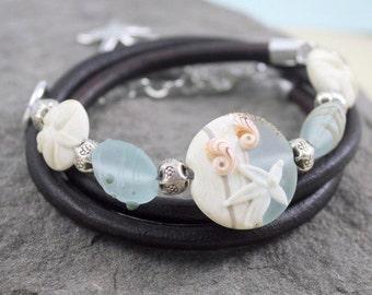 Beach Comber Leather Wrap Bracelet