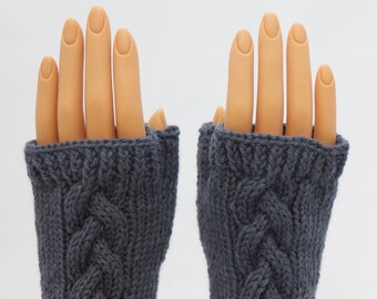 Misty Gray Wool Arm Warmer Fingerless Mitts or Gloves
