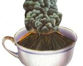 Coffee Decor Kitchen, Volcano Lava Java Artwork, Cup of Joe, Coffee Lover Gift, Coffee Nook Decor, Original Collage Art