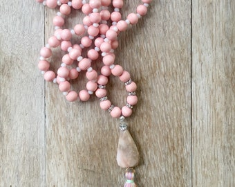 Pink Opal BoHo Mala inspired Necklace