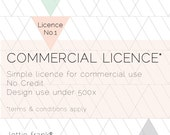 Simple Commercial Licence - No Credit - Design Use under 500x
