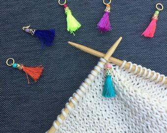 Knitting Stitch Markers, Tassels, Set of 2