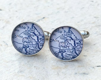 Yosemite Map Cufflinks - Yosemite National Park Vintage Map Cufflink Set - Great gift for dad for fathers day - Custom Map Gifts for him