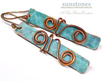 Hammered Rustic Copper Earrings  E899