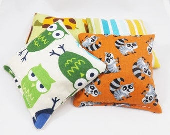 4  Mini Bean Bags - Sensory Toy / Party Game / Party Favors - Beanbag Toss Game - Woodland Animals - Owls Turtles Raccoons