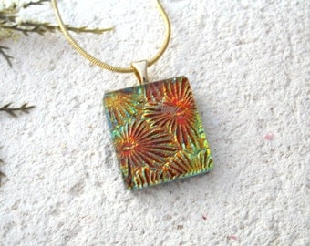 Petite Golden Necklace, Dichroic Pendant, Dichroic Fused Glass Jewelry, Dichroic Necklace, Dichroic Jewelry, Necklace Included,  080716p100
