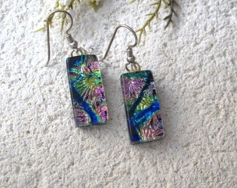 Pink Gold Blue Earrings, Dichroic Earrings,, Fused Glass Earrings, Dangle Drop Earrings, , Fused Glass Jewelry, Sterling Earings, 081616e100