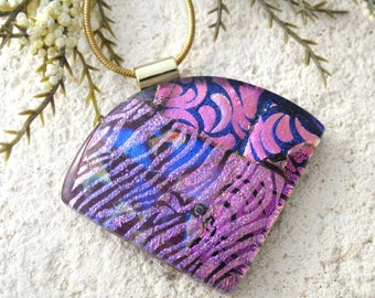 Pink Purple Necklace, Dichroic Jewelry, Wedge Necklace, Dichroic  Pendant, Fused Glass Jewelry, Dichroic Jewelry,Gold Necklace 092516p108
