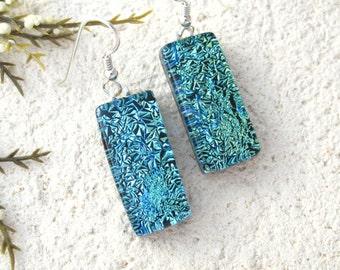 Dangle Drop Earrings, Aqua Blue Green Earrings, Dichroic Earrings, Fused Glass Earrings, Dichroic Glass Jewelry, Sterling Silver, 122115e102