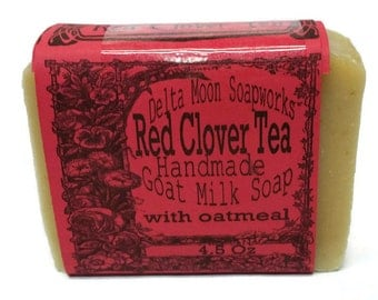 Goat Milk Soap - A rhyme for our Favorite Red Clover tea Soap -  read me, ready to ship, honey oatmeal soap, cold process soap