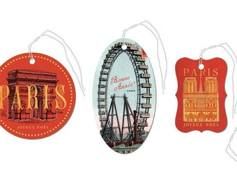 SALE Paris Christmas Glittered Gift Tags gift tags Cavallini