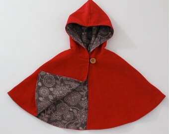 Little Red Riding Hood Cape  - Baby Girls Hooded Cape - Size 3-6 Months - Cloak, Capelet, Coat, Jacket, Poncho
