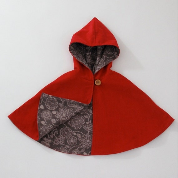 Little Red Riding Hood Cape  - Baby or Toddler Girls Hooded Cape - Sizes 3-6 Months & 6-12 Months - Cloak, Capelet, Coat, Jacket, Poncho