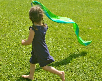 Playsilk and Wooden Wand and Streamer Toy : Twirligig (River)