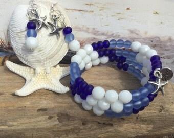 Stacking sea glass jewelry set  beach glass bracelet sea glass bracelet beach wedding jewellery set  Hawaiian island wrap bracelet earring