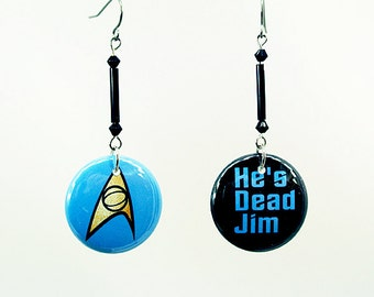 """1"""" Buttons He's Dead Jim Star Trek TOS Insignia Earrings Dr McCoy Long Beaded Dangle Hook 1 inch Pinback style Button"""
