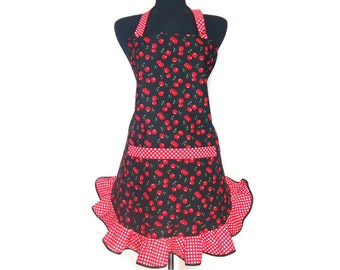 Retro Cherry Apron for women, Red Cherries on Black,  Red and White Polka Dot Ruffle, Rockabilly Kitchen Decor / Gifts for her
