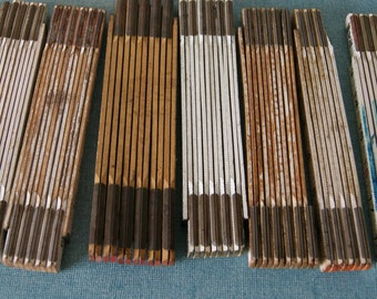 9 Vintage Folding Wood Rulers, Collectible, Craft Supply,