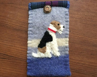 FOR JANUARY DELIVERY Wire Fox Terrier Dog Eyelgass / Sunglasses Case, Vintage Wool