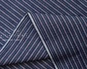 Japanese Fabric - yarn dyed Shijira cotton stripes - navy blue, pink - 50cm