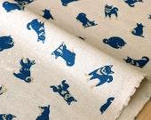 Japanese Fabric - shiba inu canvas - blue - 50cm