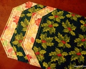 Quilted Placemats, Reversible, Christmas and Fall, Holly & Berries / Colorful Fall Leaves, Set of 4 Handmade Quilted Table Linens