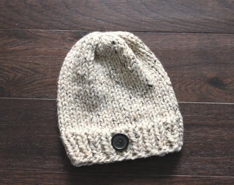 Adult Chunky Hat, THE HAWTHORNE, Chunky Knit Hat, Ski Hat, Button Hat, Cozy Hat, Adult Beanie, Adult Hat, Chunky Knits, Chunky Knit Hat