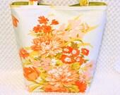Cottage Chic Purse - Large Shabby Vintage Fabric Handbag - Kitsch Floral Satchel Bag - Handmade Handbag - Orange and Pink - Gift for Her