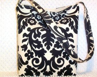 Black Damask Purse - Damask Shoulder Bag - Handmade Damask Bag - Hobo Bag Purse - Damask Handbag - Damask Hobo Bag - Gift for Her Under 50