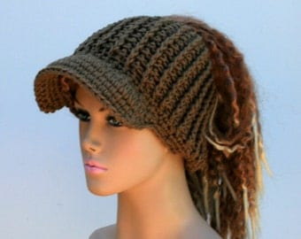 Latte brown Ponytail hat, Visor Dread Tube cap, billed dread tube, dread band, open back beanie, dread hat with bill, visor dread wrap hat