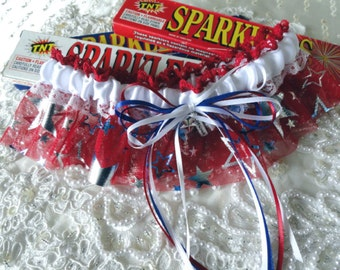 Red White Blue Stars Patriotic Wedding Garter-Fourth of July Wedding-Military -Captain America-Support Our Troops-American Wedding