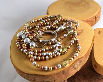 Mixed Metals handcrafted seed bead and crystal lanyard silver gold and copper