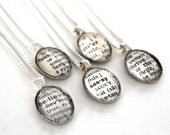 Word of the year Vintage Dictionary Necklace, Custom Word, Affordable Bridesmaid Gift, Wedding Party Gifts, Book Page