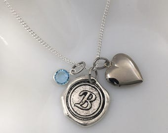 Gift for friend - Heart Locket Birthstone Necklace - Initial locket pendant