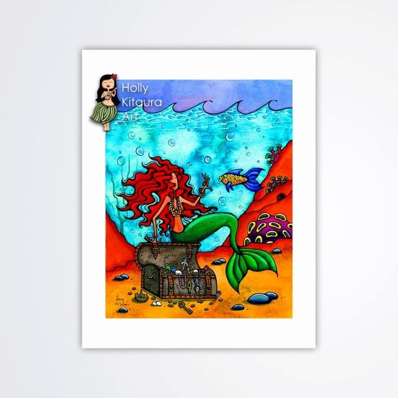 Red Head Mermaid, Hair Mermaids Ocean Decor Art Wall Hanging, Painting from Original, Painted Haired Ocean Beach Treasure Chest Mermaid Arts