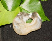 Polished Flint Naturally Holed Lucky Worry Stone from Dorset - For Luck - To see into Faery - Pagan, Wicca, Witchcraft