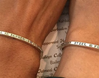 Matching Custom Message 4-Sided Cuff for Him and Her