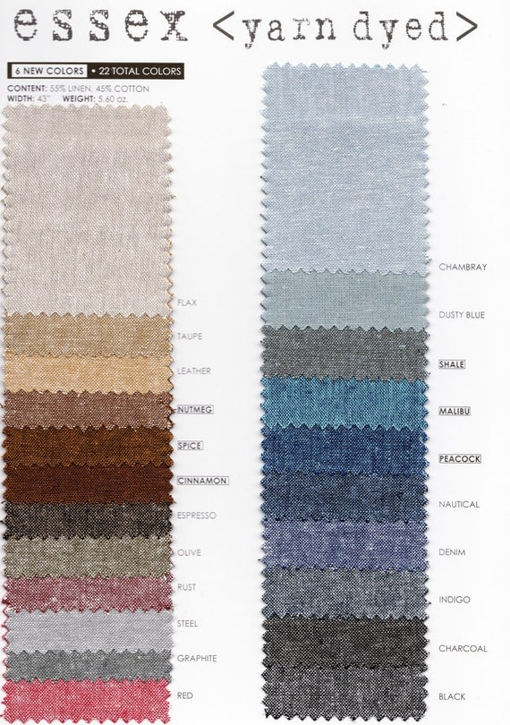 Robert Kaufman Essex Yarn Dyed Linen Cotton Blend By