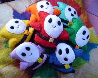 Rainbow Choices Shy Guy Felty Figure - Folk Art, Novelty, Puffy Doll, Gamer Good Luck Charm