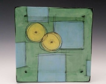 Square Ceramic Plate Green with Yellow Blooms