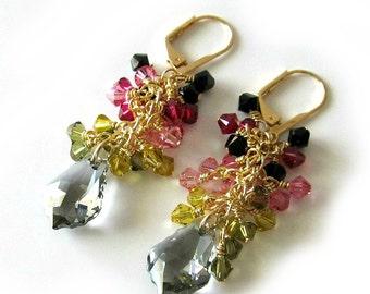 Beaded Crystal Earrings, Watermelon Tourmaline Colors, Gold, Pink, Green, Gray, Black, Baroque Pendant, Beaded jewelry, Beaded Earrings